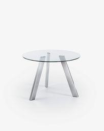 Τραπέζι Carib Ø 110 εκ, φυσικό και πόδια από ατσάλι