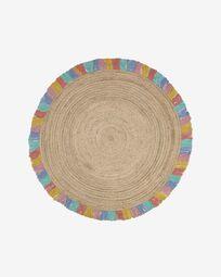 Deisy round rug in jute with multicoloured fringe Ø 120 cm
