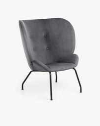 Πολυθρόνα Violet, σκούρο γκρι βελούδο