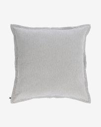 Βαμβακερό κάλυμμα μαξιλαριού Aleria, γκρι και λευκές ρίγες 60 x 60 εκ