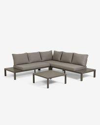 Duke outdoor set comprising a 5-seater corner sofa and brown aluminium table