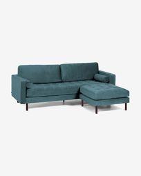 Debra 3-seater sofa with footrest in turquoise velvet 222 cm