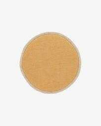 Στρογγυλό μαξιλάρι καθίσματος Prisa, 35 εκ, μουσταρδί
