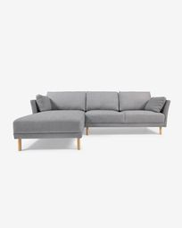 Gilma grey 3-seater sofa with left-hand chaise longue with legs in natural finish 260 cm