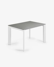 Ανοιγόμενο τραπέζι Axis 120 (180) εκ, πορσελάνη Hydra Lead και λευκά πόδια