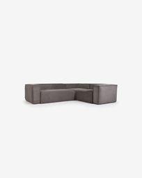 Γωνιακός καναπές 3θ Blok, 290 x 230 εκ, γκρι κοτλέ