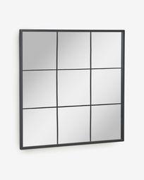 Μεταλλικό επιτοίχιος καθρέπτης Ulrica 80 x 80 εκ, μαύρο