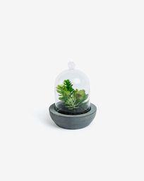 Τεχνητό Succulent μείγμα σε κεραμικό και γυάλινο κασπώ