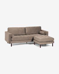 Debra 3-seater sofa with footrest in taupe velvet 222 cm