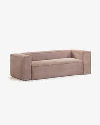 2θ καναπές Blok 210 εκ, ροζ βελούδο