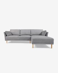 Gilma grey 3-seater sofa with right-hand chaise longue and legs with natural finish 260 cm