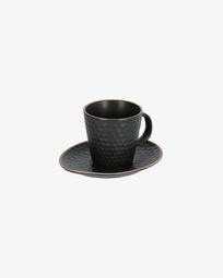 Κούπα καφέ και πιατάκι Manami, κεραμικό μαύρο