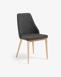 Καρέκλα Rosie φυσικό φινίρισμα και σκούρο γκρι