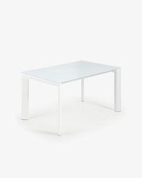 Ανοιγόμενο τραπέζι Axis 140 (200) εκ, λευκό γυαλί και λευκά πόδια