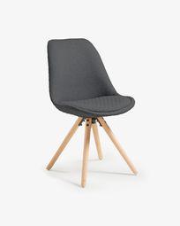 Ralf chair, natural and fabric dark grey