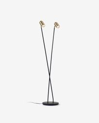 Clemence black metal floor lamp with shades with gold finish