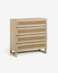 Συρταριέρα με 4 συρτάρια Rexit, 90 x 93 εκ, μασίφ ξύλο mindi και καπλαμάς, ρατάν
