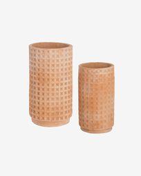 Celi set of two terracotta planters, Ø 34 cm / Ø 25 cm