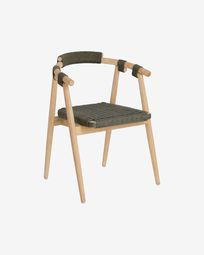 Majela solid eucalyptus wood chair with oak effect finish and green rope FSC 100%