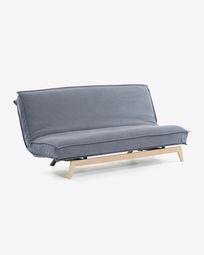 Καναπές-κρεβάτι Eveline 195 εκ, μπλε, ξύλινο σκελετός