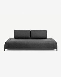 3θ πολυλειτουργικός καναπές Compo 232 εκ, σκούρο γκρι