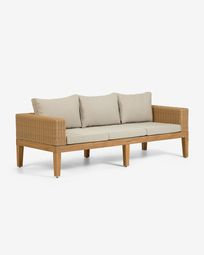 Καναπές Giana 193 εκ, ξύλο ακακίας και ρατάν FSC 100%