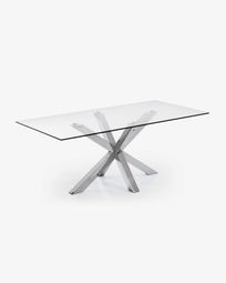 Τραπέζι Argo 200 εκ, γυαλί και πόδια από ανοξείδωτο ατσάλι