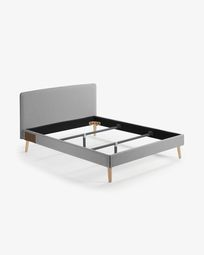 Dyla bed in grey with solid beech legs 160 x 200 cm