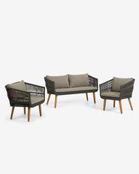 Σετ 2θ καναπές και 2 πολυθρόνες Inti, πράσινο κορδόνι FSC 100%