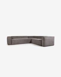 Γωνιακός καναπές 5θ Blok, 320 x 290 εκ, γκρι κοτλέ