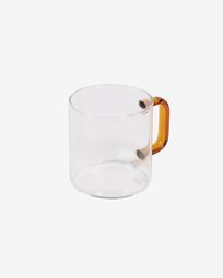 Coralie transparent and orange glass cup