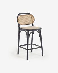 Σκαμπό Doriane ύψος 65 εκ, μασίφ φτελιά με φινίρισμα μαύρης λάκας, ταπετσαρισμένο κάθισμα