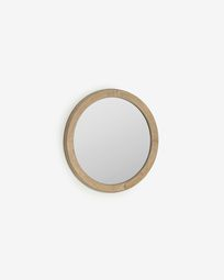 Alum round solid mindi wood mirror 50 cm