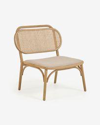 Καρέκλα Doriane, μασίφ οξυά σε φυσικό φινίρισμα και ταπετσαρισμένο κάθισμα