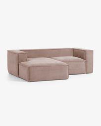 2θ καναπές με ανάκλινδρο αριστερά Blok 240 εκ, ροζ βελούδο