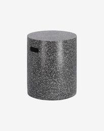 Σακμπό Jenell terrazzo stool in black, 35 εκ, μαύρο μωσαϊκό