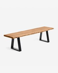 Alaia bench in solid natural acacia wood with black steel legs 200 cm