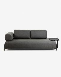 3θ καναπές Compo με μεγάλο δίσκο, 252 εκ, σκούρο γκρι