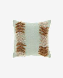Κάλυμμα μαξιλαριού Dalila PET, καφέ και πράσινο με σχέδια