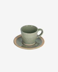 Κεραμική κούπα καφέ με πιατάκι Tilla, σκούρο πράσινο