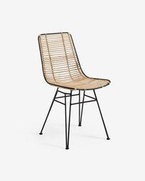 Tishana chair rattan and black steel finish
