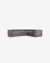 Γωνιακός καναπές 4θ Grey Blok 320 x 230 εκ, γκρι βελούδο