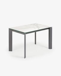 Ανοιγόμενο τραπέζι Axis 120 (180) εκ λευκή πορσελάνη Kalos και πόδια ανθρακίτη