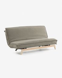Eveline sofa bed in beige with a wooden frame 195 cm