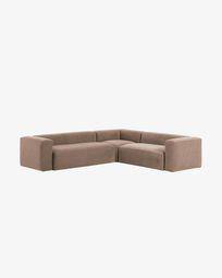 Γωνιακός καναπές 5θ Blok 320 x 290 εκ, ροζ