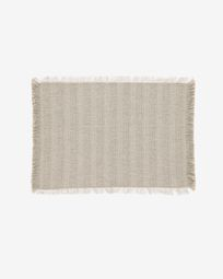 Aicha set of two 100% cotton tablecloths with beige and brown fringe 35 x 50 cm