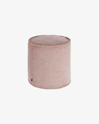 Small pink corduroy Wilma pouf Ø 40 cm