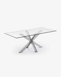 Τραπέζι Argo 180 εκ, γυαλί και πόδια από ανοξείδωτο ατσάλι