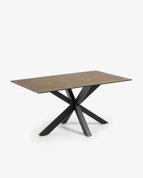 Τραπέζι Argo 160 εκ, πορσελάνη με φινίρισμα Iron Corten και μαύρα πόδια