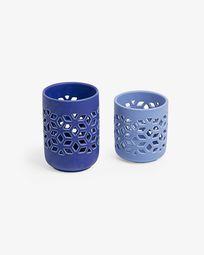 Leti set of 2 candleholders blue